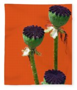 Poppies On Orange Fleece Blanket
