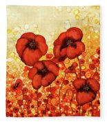 Poppin Poppies #2 Fleece Blanket