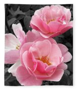 Popping Pink Roses Fleece Blanket
