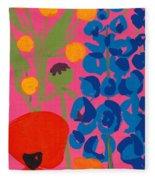 Poppy And Delphinium Fleece Blanket