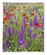 Poppy And Wild Flowers Meadow Nature Scene Fleece Blanket