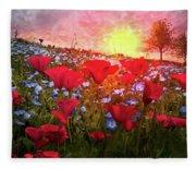 Poppy Fields At Dawn Fleece Blanket