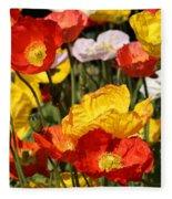 Poppy Flower Garden Fleece Blanket