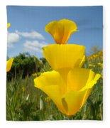 Poppy Flower Meadow 7 Poppies Blue Sky Artwork Baslee Troutman Fleece Blanket
