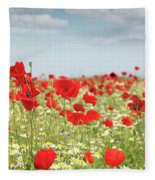 Poppy Flowers Field Nature Spring Scene Fleece Blanket
