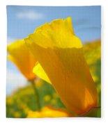 Poppy Flowers Meadow 3 Sunny Day Art Blue Sky Landscape Fleece Blanket