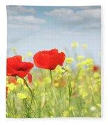 Poppy Flowers Nature Spring Scene Fleece Blanket
