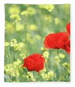 Poppy Flowers Spring Scene Fleece Blanket