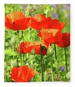 Poppy Garden I Fleece Blanket
