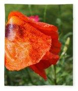 Red Poppy II Fleece Blanket