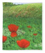 Poppy In Country Fleece Blanket