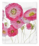 Poppy Painting On White Background Fleece Blanket