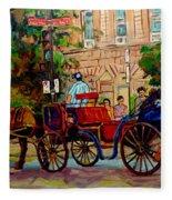 Popular Quebec Artists Carole Spandau Painter Of Scenes De Rue Montreal Street Scenes Fleece Blanket