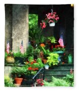 Porch With Geraniums And American Flags Fleece Blanket