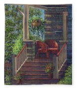 Porch With Red Wicker Chairs Fleece Blanket