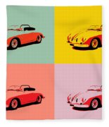 Porsche 356 Pop Art Panels Fleece Blanket