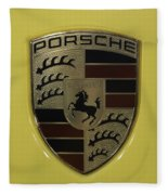 Porsche Emblem On Racing Yellow Fleece Blanket