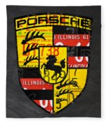 Porsche Sports Car Logo Recycled Vintage License Plate Car Tag Art Fleece Blanket