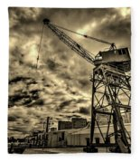 Port Crane At Sunset Fleece Blanket