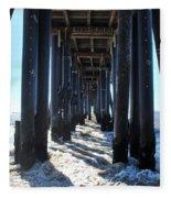 Port Hueneme Pier - Waves Fleece Blanket
