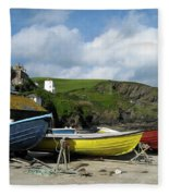 Port Isaac Boats Fleece Blanket