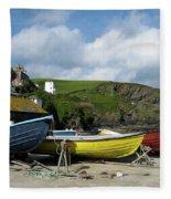 Port Isaac Boats Fleece Blanket