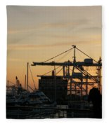 Port Of Oakland Sunset Fleece Blanket