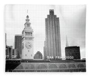 Port Of San Francisco Black And White- Art By Linda Woods Fleece Blanket