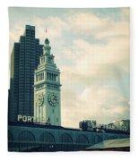 Port Of San Francisco Fleece Blanket