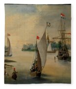 Port Scene With Sailing Ships Fleece Blanket