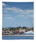 port with ferry boats Corfu Greece Fleece Blanket