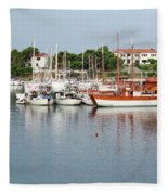 Port With Sailboat And Fishing Boat Fleece Blanket