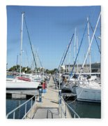 Port With Yacht  Fleece Blanket