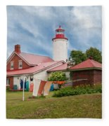 Portage River - Jacobsville - Lighthouse Fleece Blanket