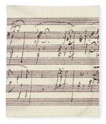 Portion Of The Manuscript Of Beethoven's Sonata In A, Opus 101 Fleece Blanket