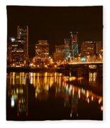 Portland At Night Fleece Blanket