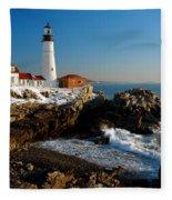 Portland Head Light - Lighthouse Seascape Landscape Rocky Coast Maine Fleece Blanket