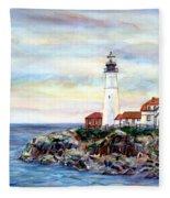 Portland Head Light In Maine Fleece Blanket