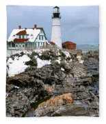 Portland Head Light In Winter Fleece Blanket