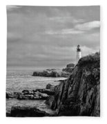 Portland Head Lighthouse - Cape Elizabeth Maine In Black And White Fleece Blanket
