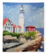 Portland Headlight By The Sea Fleece Blanket