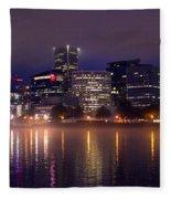 Portland Night Skyline Fleece Blanket