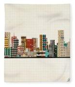 Portland Skyline Fleece Blanket