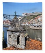 Porto And Gaia Cityscape In Portugal Fleece Blanket