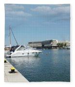 Porto Carras Harbor With Yacht And Resort Fleece Blanket