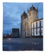 Porto Cathedral And Pillory Column In Portugal Fleece Blanket