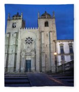 Porto Cathedral By Night In Portugal Fleece Blanket