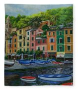 Portofino Harbor Fleece Blanket