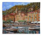 Portofino-la Piazzetta E Le Barche Fleece Blanket