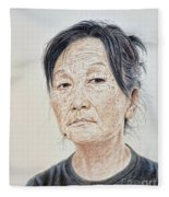 Portrait Of A Chinese Woman With A Mole On Her Chin Fleece Blanket